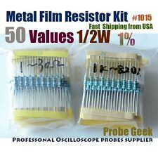 50  Values Total 500pcs 10pcs Each 1% 1/2W Metal Film Resistor ASSORTED KITS