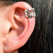 NEW VINTAGE SILVER LEAF EAR CUFF UPPER HELIX CARTILAGE CLIP-ON EARRING ROCK GOTH