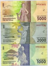 Indonesia - 1000, 2000 and 5000 Rupiah - set of 3 notes - UNC - New 2016 issue