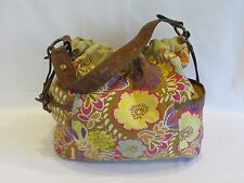 Fossil Brown/Multi Color Floral Fabric Magnetic Snap/Elastic Hobo Bag - GR8!