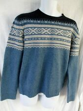 NEW Mens J. CREW Winter Holiday Christmas Knit Ski Ethnic Sweater M Wool BLUE