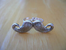 "Stylish ""MUSTACHE"" Ring in Silvertone Size 6.5 or Larger One Size Adjustable BN"