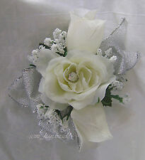 Ivory Roses* baby's breath wrist*wristlet*Silver*Prom*Party*Quinceanera*Corsage
