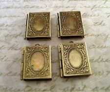 Antique Bronze Book Lockets (4) - G008 Jewelry Finding
