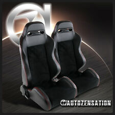 1 Pair Of Black Suede Leather w/ Red Stitch JDM Speed Racing Seats