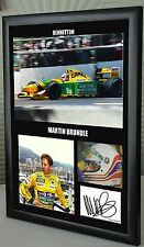 "Martin Brundle F1 Bennetton Framed Canvas Signed Print ""Great Gift"""