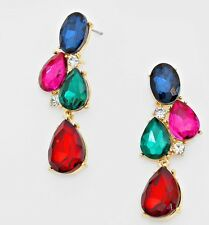 "2"" Long Gold Pink Fuchsia Red Blue Multi Color Rhinestone Crystal Drop Earrings"