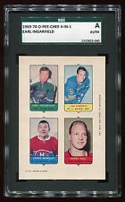 1969 O-Pee-Chee 4-In-1 Proof Ingarfield/Roberts/WORSLEY/HULL SGC AUTH 372923-040