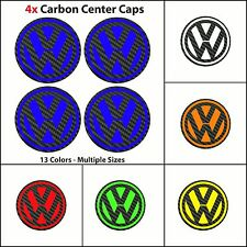 4x VW Volkswagen Badge Logo CARBON Center Caps Wheel Hub Stickers - All Sizes