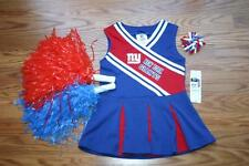 CHEERLEADER OUTFIT HALLOWEEN COSTUME NY GIANTS UNIFORM DRESS POM POM BOW 18 MTHS