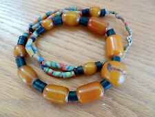 """Copal Amber Trade Bead Necklace A Clam Shells Beads  22"""""""