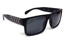 BLACK GUN METAL WATCH BAND WAYFARER SUNGLASSES LINK CHAIN SQUARE RETRO CLASSIC