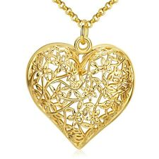 Elegant 18k Yellow Gold Filled GF Filigree Heart Pendant Necklace Woman N442