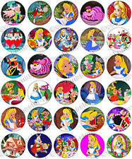 30 x Alice in Wonderland Party Edible Rice Wafer Paper Cupcake Toppers