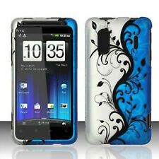 Blue Vines Rubberized HARD Protector Case Snap On Phone Cover HTC EVO Design 4G