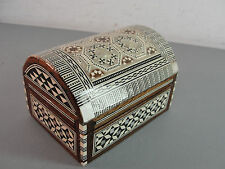 HANDMADE MIDDLE EASTERN MICRO MOSIAC TRINKET BOX MOTHER OF PEARL INLAY VINTAGE
