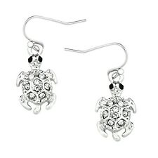 Sea Turtle Fashionable Earrings - Fish Hook - Sparkling Crystal