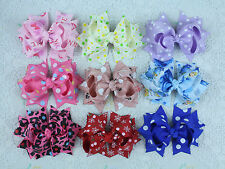 """2016 Wholesale hair accesorries 9pc baby girl toddler boutique hair bows 3"""" 1879"""