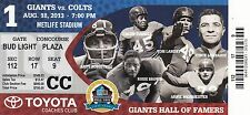 2013 NEW YORK GIANTS VS INDIANAPOLIS COLTS COACHES CLUB GIANTS TICKET STUB 8/18