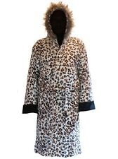 LEOPARD PRINT PARKA FLEECE HOODED BATHROBE DRESSING GOWN ROBE