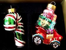 Rare Vintage Set of 2 Hand Blown Glass Ornament - Candy Cane & Car with Gifts