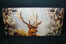 DEER  METAL NOVELTY CAR LICENSE PLATE TAG WITH CAMOUFLAGE BACKGROUND