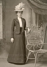 Victorian woman hat wicker chair 1890s photo CHOICES 5x7 or request 8x10 or 8x12