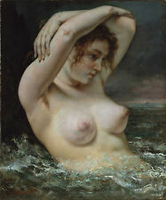 "Gustave Courbet, The Bather, Beautiful nude woman, 1868 16""x13"" CANVAS ART"