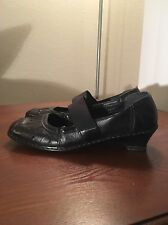 RIEKER Womens Black Leather mary jane Shoes Heel Sz 39/8.5-9 US