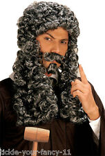Mens Women Grey Parliament Judge French King Wig Tash Goatee Costume Fancy Dress