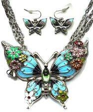 Amazing  Large Enameled Butterfly Necklace and Earrings Set with Bee and Ladybug