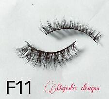 2D Real Mink Fur Eyelashes Makeup Thick Black Eye Lashes #F11