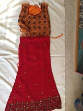 NWT  Lehenga Choli Indian Party Dress Maroon Red Saffron Size 6-8 years