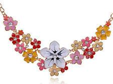 Charming Lady Colorful Enamel Painted Crystal Rhinestone Floral Pendant Necklace