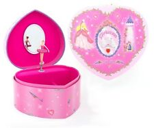 Girls Hot Pink Princess HEART MUSICAL JEWELLERY BOX / Music Chest - Lucy Locket