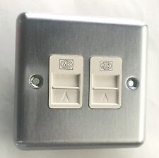 MK Albany Matt Chrome Dual Master Telephone Socket Outlet 430 MCO BT Approved