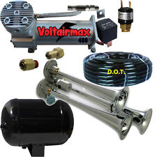 Dual Air Horn RV-17 Triple Kit New truck car SUPER LOUD W-101 relay/press Switch