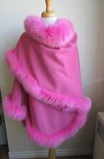 Women's Brand New Pink Wool & Cashmere  Wrap Cape with Fox Fur Trims WOW