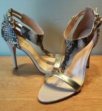 SEXY GUESS MARCIANO GOLD/TAN HIGH HEEL SNAKE SKIN SANDALS OPEN TOE SIZE 6