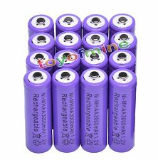 16 AA LR6 3000mAh Ni-MH Rechargeable Battery PURPLE P1