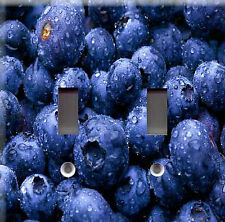 WET BLUEBERRIES DOUBLE LIGHT SWITCH PLATE COVER
