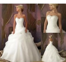 New White/Ivory Organza Wedding Dress Bridal Gown Size 6-16 Uk Seller