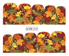 Full Wrap Nail Art Water Decals Transfers Autumn Leaves (DB516)