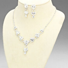 Silver and Crystal Rhinestone Necklace Set