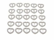 200 PEARLISED HEART SHAPED RIBBON SLIDER BUCKLES - SILVER FOR WEDDING INVITES