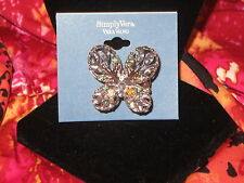 SIMPLY VERA WANG NWT $26 women's butterfly stretch sliver toned blue stones ring