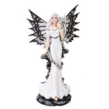 "Large 21"" Night Fairy Standing With White Dragon Statue Fairyland Legends"