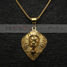 """Stainless Steel Gold Roar Lion King Head Stong Mens Gold Pendant 24"""" Chains"""