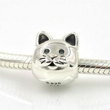 LOVE MY CURIOUS KITTY CAT  Sterling Silver European Charm Bead