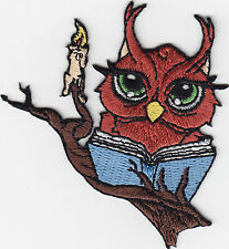 OWL-READING BOOK BY CANDLEt/Iron On Embroidered Applique/Cute Critters/Birds